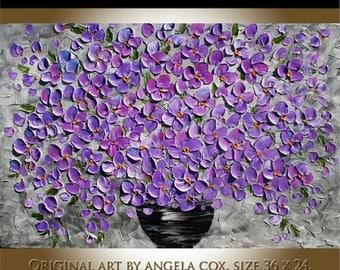 SALE Original  Modern  Purple Lilac Flowers   Impasto Palette Knife Painting . Made2Order