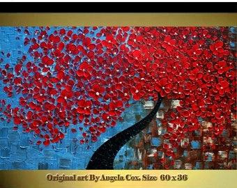 SALE Original  Modern Red Blossom Tree  Impasto Textured  palette Knife landscape Red Flowers  Painting.  MADE2ORDER.