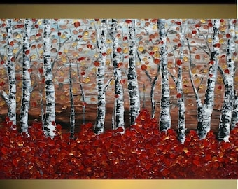 SALE Original Modern   Birch Forest   Heavy Impasto Texture    Palette Knife  Acrylic    Painting.  Size 40 x 30