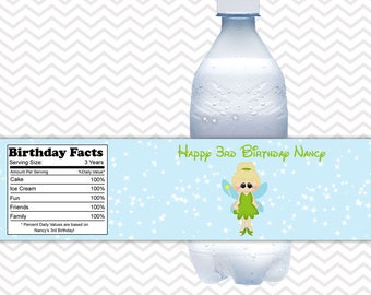 Tinkerbell - Fairy - Personalized Water bottle labels - Set of 5 Waterproof labels