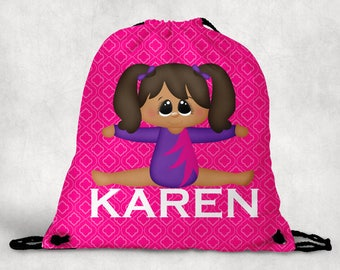 Personalized Drawstring Backpack - Gymnastics Backpack - Gymnastics Sports Bag - Personalized Kids Drawstring Bag