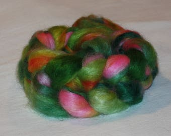 Hand Dyed Mohair Roving Fine Quality 90/10% Mohair/ wool top 4.35 oz Summer Garden