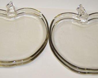 Hazel Atlas Crystal APPLE 7 3/4 Inch Salad Plates, Set of 4