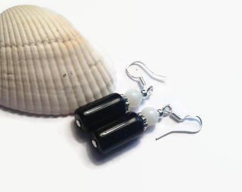 Black with White Dangle Earrings/ Dangle Earrings/ Beaded Earrings/ Simple Earrings