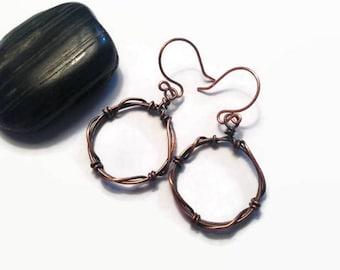 Copper Wire Wrap Earrings/ Copper Earrings/ Dangle Earrings/ Antiqued Copper Earrings/ Wire Wrap Jewelry