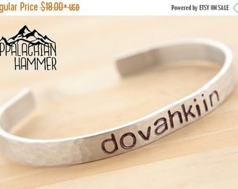 WEEKEND SALE Dovahkiin Hand Stamped Cuff Bracelet