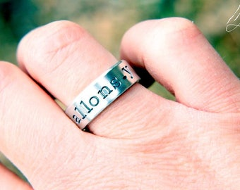 Allons-y Hand Stamped Ring, Doctor Who, 10th Doctor, David Tennant, Dr Who, Whovian, DW, Tenth Doctor
