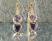 LAYAWAY for Rose - 14K Yellow Gold Pink, Purple Heart, and Clear CZ Double Hoop Pierced Earrings