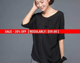 Tops, Black top, linen shirt, blouses woman, shirt dress, irregular shirt, long shirt, womens shirts, side split top, tops for women C1150