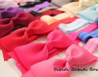 SALE-Headbands- Set of 15- Tuxedo bows and headbands- Birthday gift- Baby shower gift - Hair accessory-You can choose color