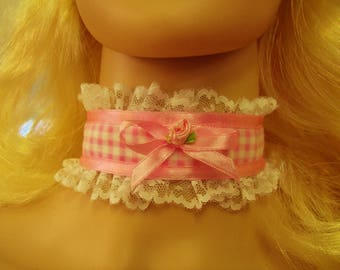 Any Size Sissy Choker Gingham Pink White Swiss Lace CD Victorian Romantic Cosplay Kawaii Plaid