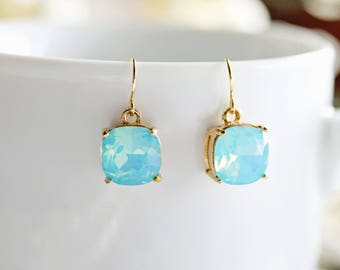 Turquoise Glass Dangle Earrings, Turquoise Dangle Earrings, Dangle Earrings, Turquoise Earrings