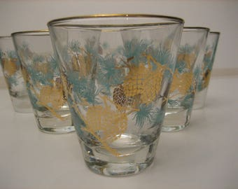 6 Turquoise and Gold Pine Cone Design Small Martini Glasses