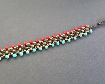 Triple Turquoise  Coral  Brass  Bracelet