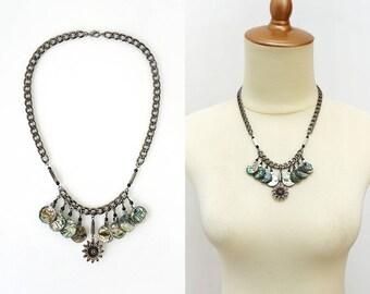 Abalone Shell Bib Statement Necklace & Earrings Set