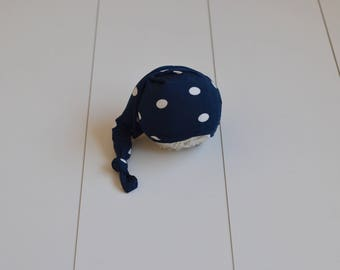 RTS CLEARANCE Super sweet dotty hat Baby girl long tail hat Newborn baby photography prop navy with creamy polka dots Sleepy hat