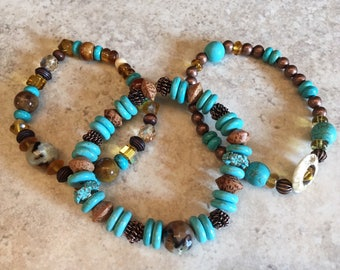 Howlite Turquoise Beaded Bracelet Set, Boho Bracelet Stack, Howlite and Swarovski Crystal, Glass, Ceramic, Wood, and Metal Bead Bracelets
