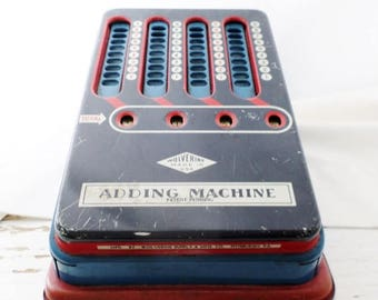 ON SALE Vintage, Tin, Wolverine, Adding Machine, Toy, Calculator, Red White and Blue, Working