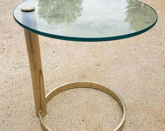 ON SALE Brass and Glass Cantilevered Table by Leon Rosen for Pace Collection