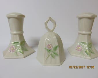 Belleek Society Limited Edition Wild Irish Rose Candlesticks and Bell Free Shipping