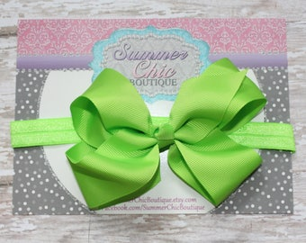 Baby Headband, Large Bow Headband, Infant Headband, Newborn Headband - Lime Green Bow Headband, Headband, Boutique Bow on Fold over elastic