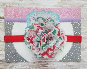 Christmas Headband,Red, White, and Green Baby Headband, Headband,  Infant Headband, Newborn Headband,  Red Christmas Headband, Red Headband