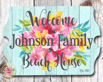 Personalized House Sign-Beach House Sign-Tropical Flowers - Home Decor - Custom House Sign - Hibiscus Flowers - Weathered Wood - Shabby Chic