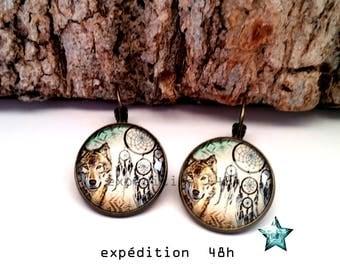 Lever back earrings, Wolf, dreamcatcher, Bohemian, ethnic, boho, native Americans, toho, cabochon jewel,