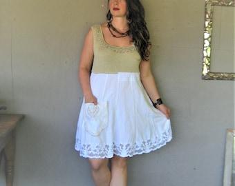 upcycled clothing tank dress Bohemian Linen lace dress X Large boho wearable art Romantic summer reclaimed Aline wedding LillieNoraDryGoods