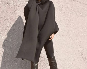 Black Extravarant Maxi Asymmetric Hoodie / Quilted Cotton Warm Top by AKASHAA A07104