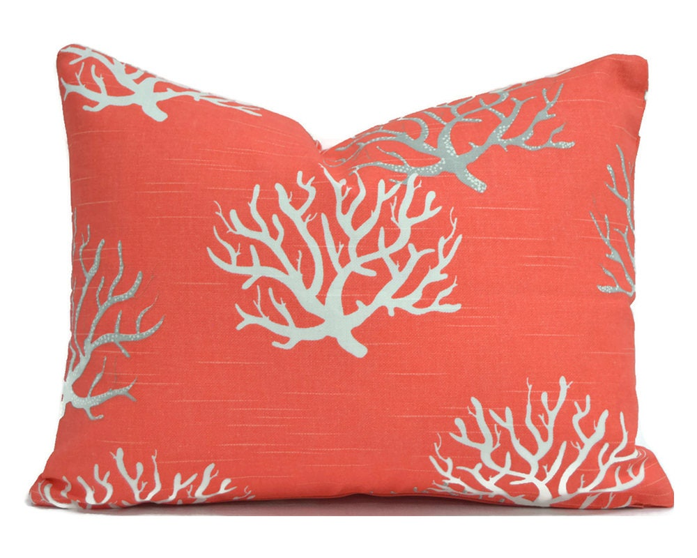 Throw Pillow Cover Measurements : Lumbar Pillow Cover ANY SIZE Decorative Pillows Coral Pillow