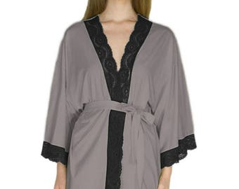 Lace Jersey Robe Organic Bamboo Elegant Anniversary Gift Bridal Shower Concrete Gray and Black Lingerie