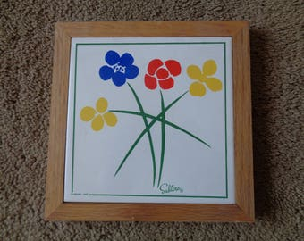 "Vintage Mid Century Retro Pottery Framed Art Tile By ""SALTERA"" for HIMARK"