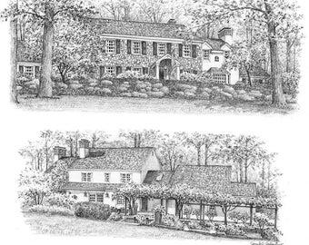 11x14 Custom Montage Home Portrait Graphite Pencil Fine Art Drawing-Housewarming First Home Anniversary Birthday Wedding