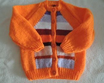 Baby/Toddler Cardigan Jacket Unique Hand Knitted 20-22 Inch 12-18 Months,Orange,Striped