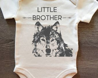Little Brother, Wolf, Baby, Boy, Infant, Toddler, Newborn, Organic, Bodysuit, Outfit, One Piece, Layette, Clothes, Pregnancy Announcement