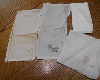 4 Children's Hankies Handkerchiefs