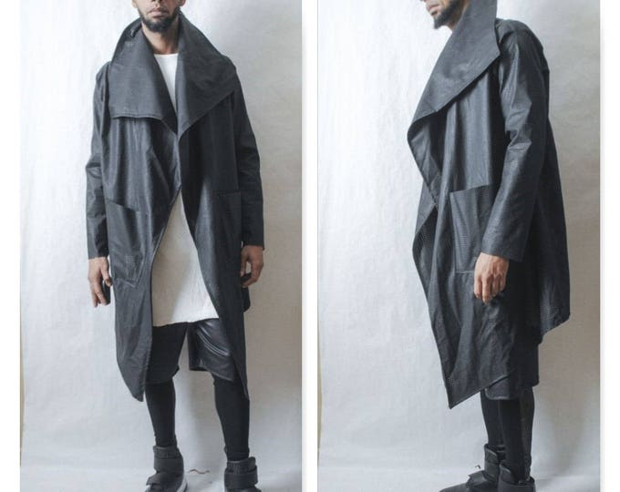 Faux Leather Drape Front Jacket Inspired By Y3, Yeezy, Helmut Lang, RICK OWENS