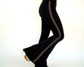 Native American trimmed solid black stretchy bell bottoms-Boho Flare pant-Women leggings-Yoga pant-70's clothing-Festival Pant-XS-S-M-L-XL