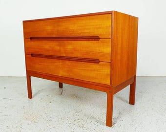 mid century Danish modern teak 3 drawer chest dresser by Arne Wahl Iversen