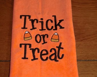 Embroidered Velour Hand Towel - Halloween - Trick or Treat - Orange Towel