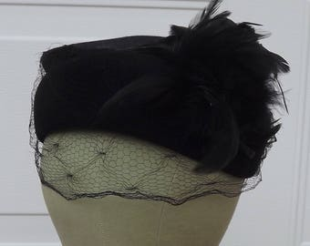 Vintage 1950's Black Veiled Hat with Feathers