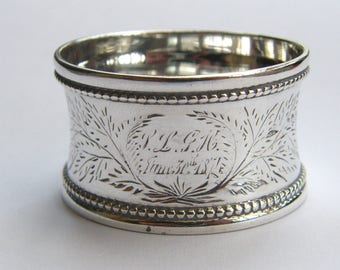 Antique-Victorian-Solid Silver Concave Shank Floral Pattern Napkin Ring With Provenance-London-circa 1873