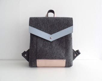 Felt Genuine Leather Backpack Gray Pink Blue