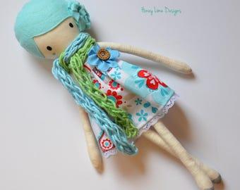 Mini Cloth Doll - Rag Turquoise Blue Wool Felt