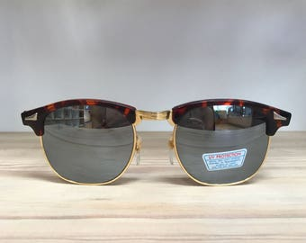 Tortoise gold clubmaster style vintage sunglasses