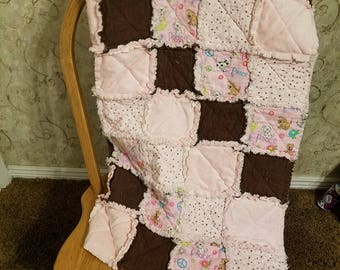 Pink and Brown Puppy Quilt
