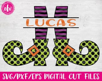 Split Witch Legs, SVG, DXF, EPS, Halloween, Cut File, Fall, Autumn, Chevron, Polka, Pattern, Vector, Holiday,  Silhouette, Cricut