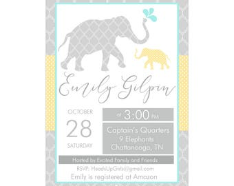 Digital Printable Baby Shower or Birthday Invitation with Nautical Ocean Elephants in Gray, Yellow and Aqua Blue CPP009