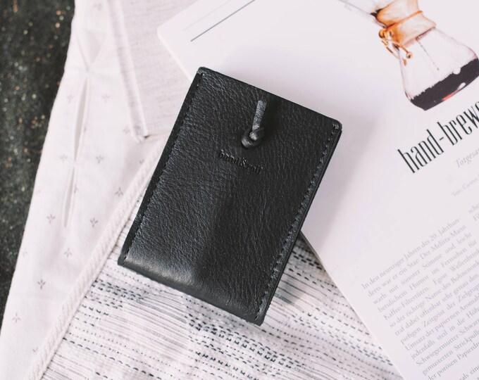 "Card Wallet, Full Grain Italian Leather, Suede Italian Leather, Black, ""Companion"""